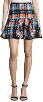 Milly Pied-de-Poule Flounce Mini Skirt, Multi