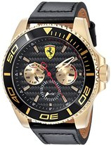 Ferrari Men's 'XX KERS' Quartz Gold-Tone and Leather Casual Watch, Color:Black (Model: 0830419)