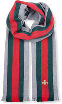 Gucci House Web Wool And Cashmere Scarf