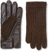 Oliver Spencer + Monocle Wool-blend And Leather Gloves - Brown