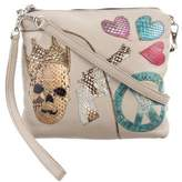 Carlos Falchi Embroidered Snakeskin Skull Crossbody Bag