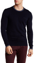 Ben Sherman Crew Neck Long Sleeve Stripe Trim Sweater