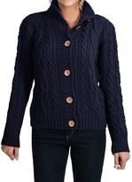 J.G. Glover & CO. Peregrine by J.G. Glover Aran Peruvian Merino Wool Turtleneck Cardigan Sweater (For Women)