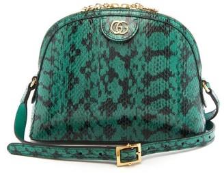 Gucci Ophidia Watersnake Cross-body Bag - Womens - Dark Green