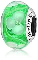 Lovelinks 925 Sterling Silver Green Floral Murano Glass Bead