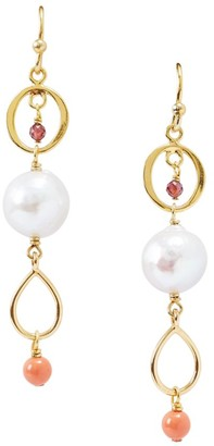 Chan Luu 8MM-9MM White Akoya Baroque Pearl & Mixed Gemstone Linear Drop Earrings