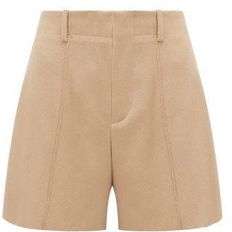 Chloé Festive Pintucked Wool-blend Twill Shorts - Womens - Tan