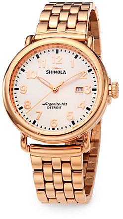 Rosegold Shinola Runwell Rose Goldtone PVD Stainless Steel Bracelet Watch