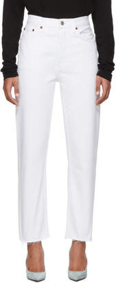 RE/DONE White High-Rise Stove Pipe Jeans