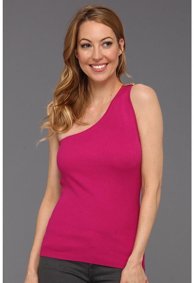 MICHAEL Michael Kors Rib One Shoulder Sweater (Radiant Pink) - Apparel