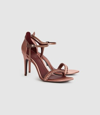 Reiss LINETTE WOVEN STRAPPY SANDALS Rose Gold