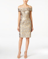 Calvin Klein Petite Off-The-Shoulder Brocade Sheath Dress