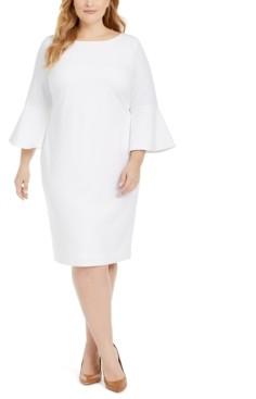Calvin Klein Size Bell-Sleeve Sheath Dress