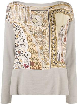 Hermes Pre-Owned Floral Print Panelled Top