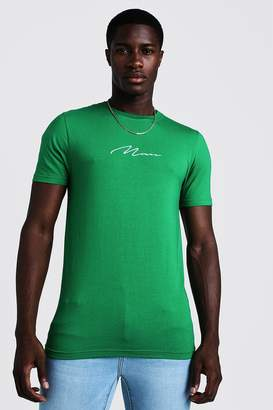 boohoo Muscle Fit Man Signature Embroidered T-Shirt