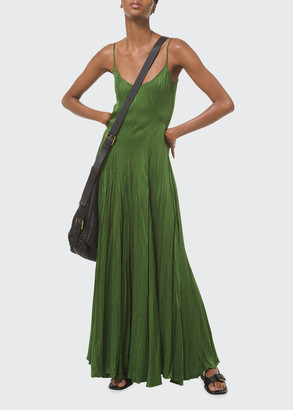 Michael Kors Collection Jamison Crush Pleated Maxi Slip Dress