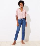 LOFT Curvy Slim Pocket High Waist Straight Crop Jeans in Mid Indigo Wash