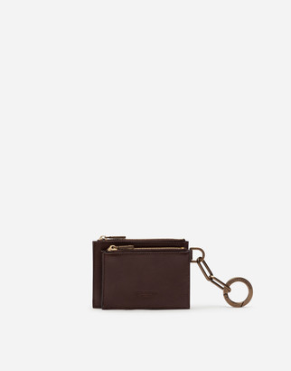 Dolce & Gabbana Cowhide Coin Pouch With Ring And Heat-Stamped Logo