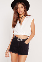 Missguided Sleeveless Crop Wrap Blouse White