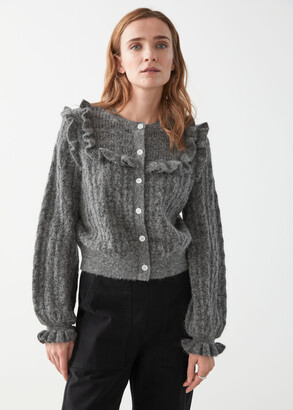 And other stories Ruffled Cable Knit Cardigan