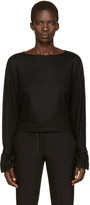 Helmut Lang Black Sleeve Tie Pullover