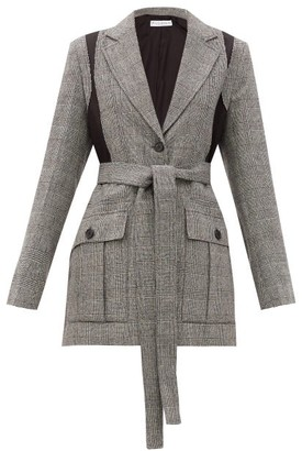 J.W.Anderson Single-breasted Prince Of Wales Wool-blend Blazer - Grey