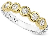 Lagos Sterling Silver and 18K Gold Five Diamond Stacking Ring