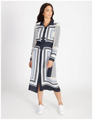 Basque Scarf Printed Dress
