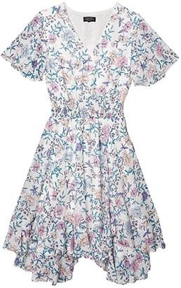 Tahari ASL Petite Smocked Tea Length Dress (Ivory/Pink Lilac) Women's Dress