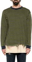 Diesel Blue/green Halo Striped Cotton Jersey Sweater