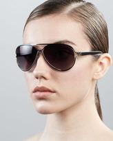 Diane von Furstenberg Stella Aviator Sunglasses, Black