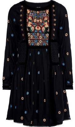 Love Sam Guipure Lace-paneled Embroidered Voile Mini Dress
