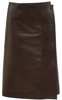 The Row Narai Asymmetric Leather Skirt - Dark Brown