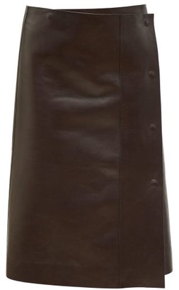 The Row Narai Asymmetric Leather Skirt - Womens - Dark Brown