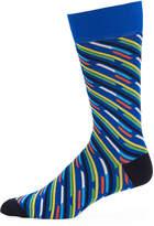 Jared Lang Broken-Striped Mercerized Cotton-Blend Socks