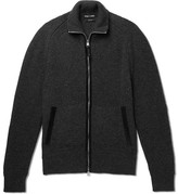 Tom Ford Nubuck-trimmed Mélange Wool And Silk-blend Zip-up Sweater - Charcoal