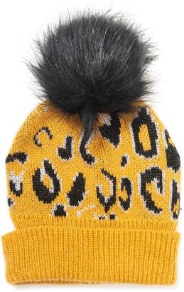 Collection XIIX Leopard Faux Fur Pompom Beanie