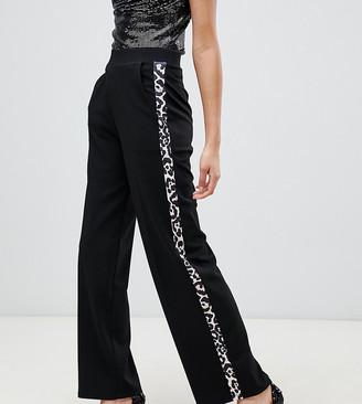 Miss Selfridge wide leg pants with animal stripe in black