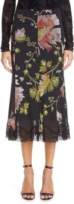 Fuzzi Floral Lace Trim Skirt