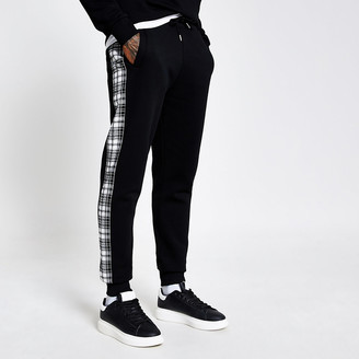 River Island Undefined black check side joggers