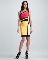 Herve Leger Cutout Colorblock Bandage Dress