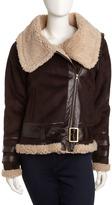 Faux-Fur Biker Jacket, Brown