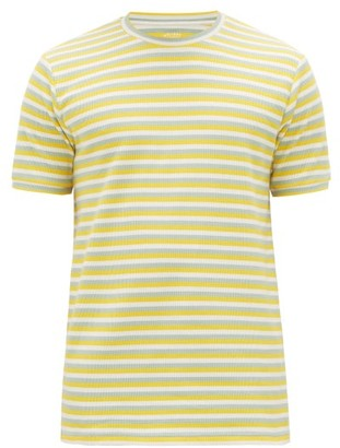 Holiday Boileau Hardy Striped Waffle-knitted Cotton-blend T-shirt - Mens - Yellow Multi