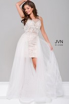 Jovani Lace Sheer Neckline Dress with Tulle Overlay JVN45673