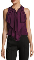 Alice + Olivia Elisa High-Neck Ruffle Silk Blouse