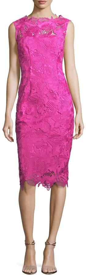 Lela Rose Guipure Lace Sleeveless Sheath Dress