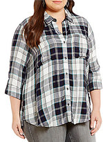 Jessica Simpson Plus Dion Hi-Low Hem Plaid Shirt