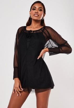 Missguided Petite Black Dobby Mesh Smock Dress