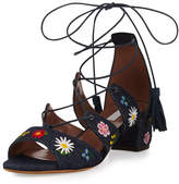 Tabitha Simmons Isadora Floral-Embroidered Lace-Up Sandal, Blue