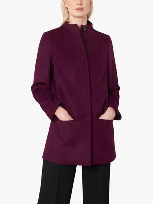 Jaeger Boxy Wool Pea Coat, Burgundy
